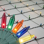 4' x 6' Net Lights - 150 Multi: Red, Blue, Amber, Green, Gold Lamps - Green Wire