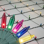 4' x 8' Net Lights - 200 Multi (Red, Green, Pink, Blue, Yellow) Lamps - Green Wire