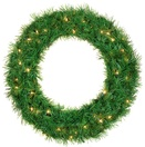 Dunhill Fir Prelit LED Holiday Christmas Wreath, Warm White Lights