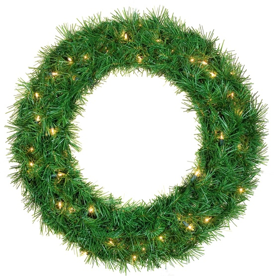 Dunhill Fir Prelit LED Holiday Wreath, Warm White Lights