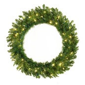 Norway Spruce Prelit LED Holiday Wreath, Warm White Lights