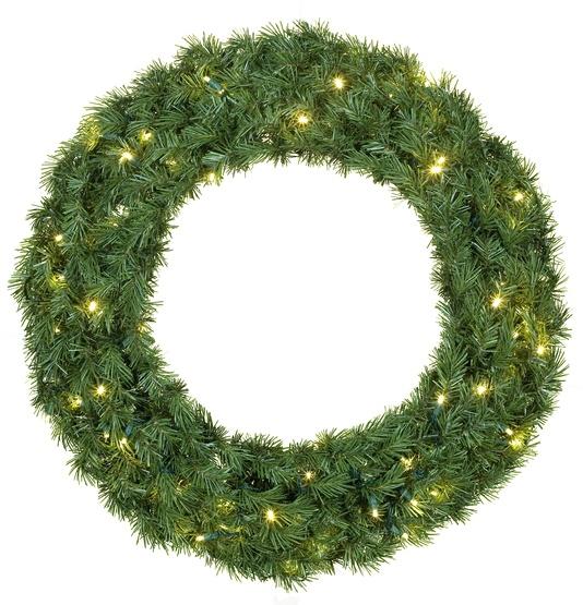 Balsam Fir Prelit LED Holiday Wreath, Warm White Lights