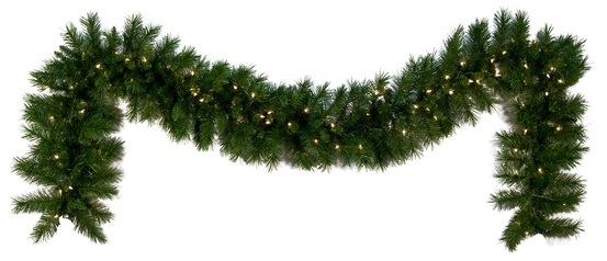 Dunhill Fir Prelit LED Christmas Garland, Warm White Lights