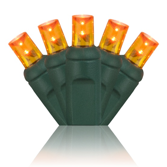 """70 5mm Amber LED Christmas Lights, 4"""" Spacing"""