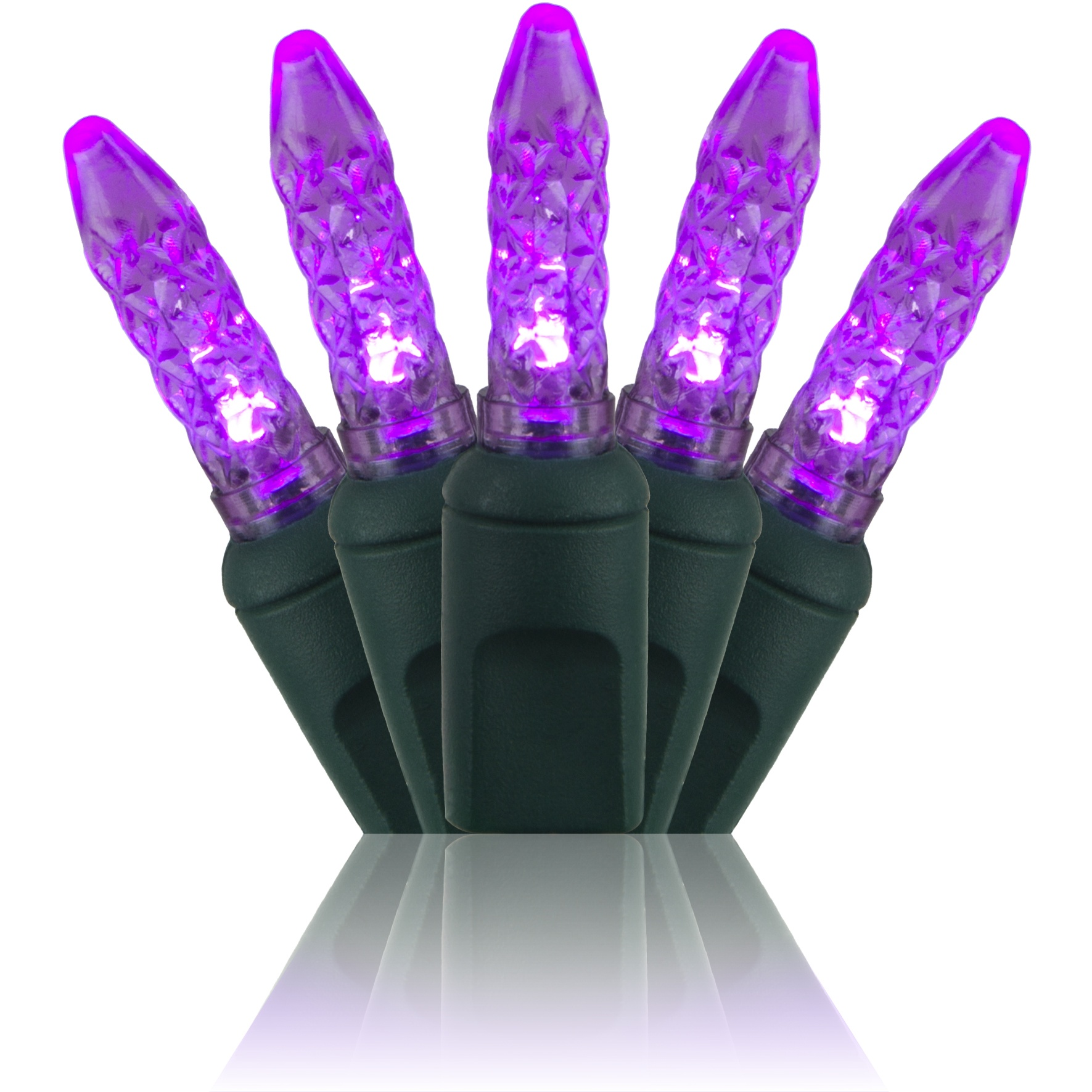 "70 M5 Purple LED Christmas Lights, 4"" Spacing"