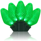 "25 C7 Green LED Christmas Lights, 8"" Spacing"