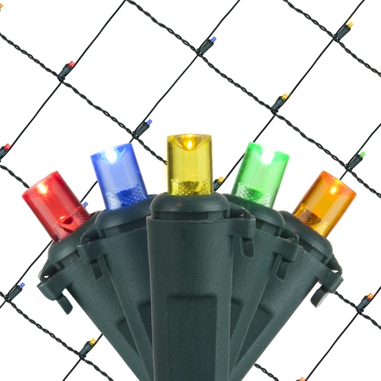 5MM 4'x6' Multicolored LED Net Lights, Green Wire
