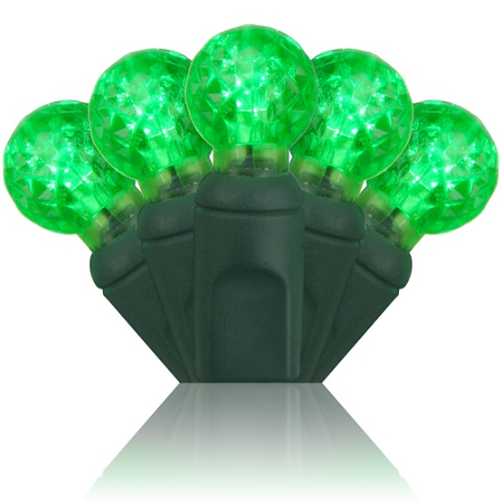"70 G12 Green LED String Lights, 4"" Spacing"
