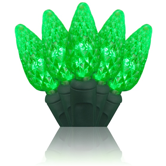 "70 C6 Green LED String Lights, 4"" Spacing"