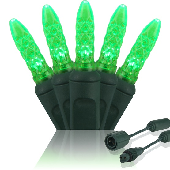 "Commercial 25 M5 Green LED Christmas Lights, 4"" Spacing"