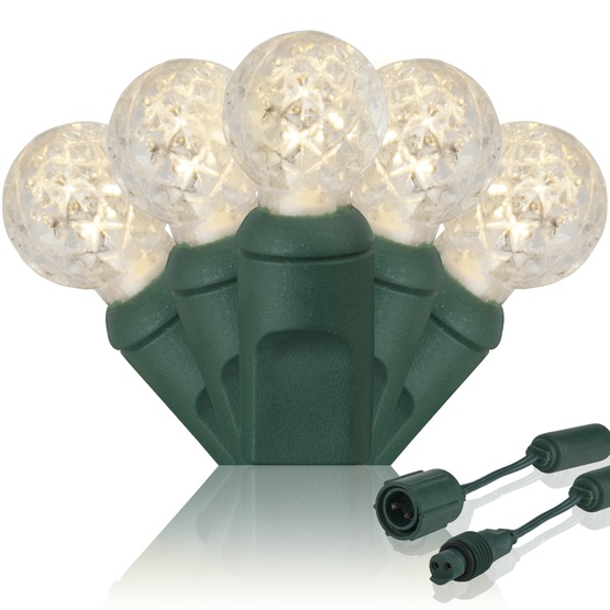 "Commercial 25 G12 Warm White LED String Lights, 4"" Spacing"