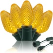 "Commercial 25 C7 Gold LED Christmas Lights, 12"" Spacing"