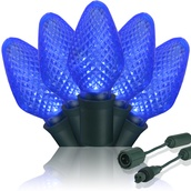 "Commercial 25 C7 Blue LED Christmas Lights, 6"" Spacing"
