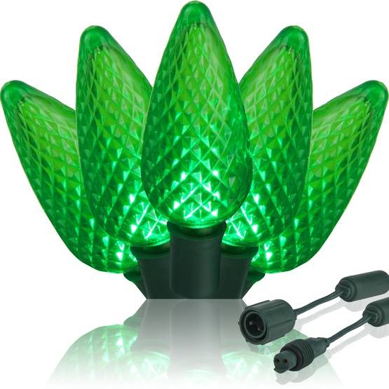 """Commercial 25 Green C9 LED Christmas Lights, 12"""" Spacing"""