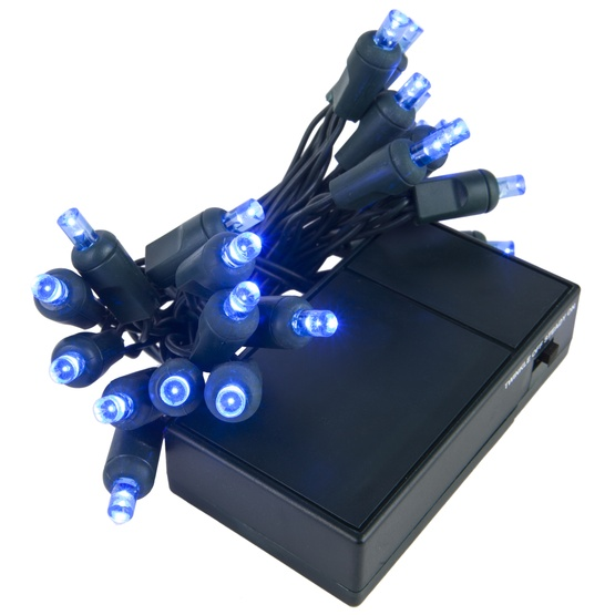 20 Blue Battery Operated 5mm LED Christmas Lights, Green Wire