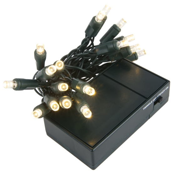 20 Cool White Battery Operated 5mm LED Christmas Lights, Green Wire