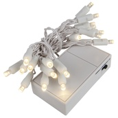 20 Warm White Battery Operated 5mm LED Christmas Lights, White Wire