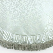 "56"" Ivory Satin Tree Skirt with Fringe Border"