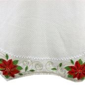 "56"" Cream Woven Cotton Tree Skirt with Poinsettia Border"