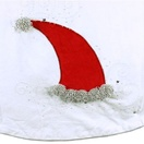"56"" White Velvet Santa Hat Tree Skirt with Sequins and Beads"