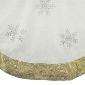 "56"" Silver Beaded Snowflake Tree Skirt with Gold Trim"