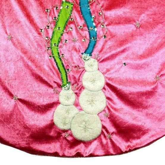 """56"""" Hot Pink Velvet Tree Skirt with Snowmen"""