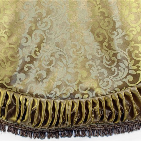 "72"" Gold Jacquard Tree Skirt with Pleat and Tassel Border"