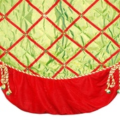 "72"" Green Satin Elf Tree Skirt with Red Border and Bells"