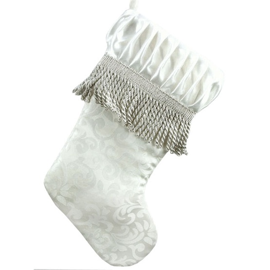 Ivory Satin Stocking with Fringe