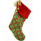 Green Satin Elf Stocking with Bells