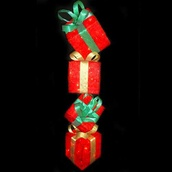 Lighted Christmas Sisal Gift Box Tower Decor