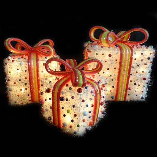 Festive Tinsel Outdoor Gift Box Set