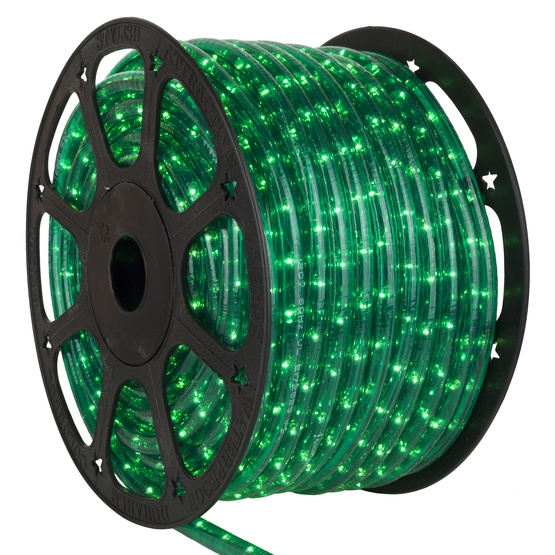 "150' Green Rope Light, 2 Wire Square 1/2"" x 1/2"", 120 Volt"