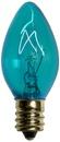 C7 Teal Christmas Light Bulbs, Transparent