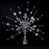 """20"""" Silver Starburst Snowflake Tree Topper"""