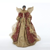 "16"" Burgundy and Gold African American Angel Tree Topper"