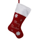 Red Velvet Merry Christmas Stocking with White Cuff