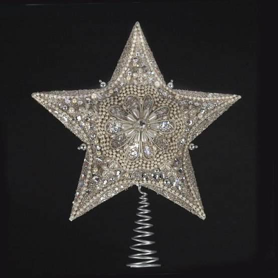 "13.5"" Glitter and Pearl Silver Tree Topper"