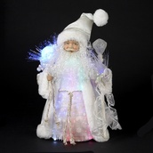 "12"" White Iridescent Fiber Optic Santa Tree Topper"