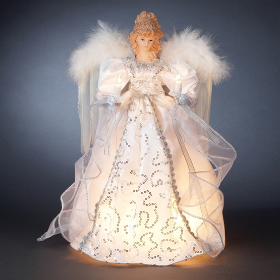 "14"" White and Silver Angel Tree Topper with Gold Wings"