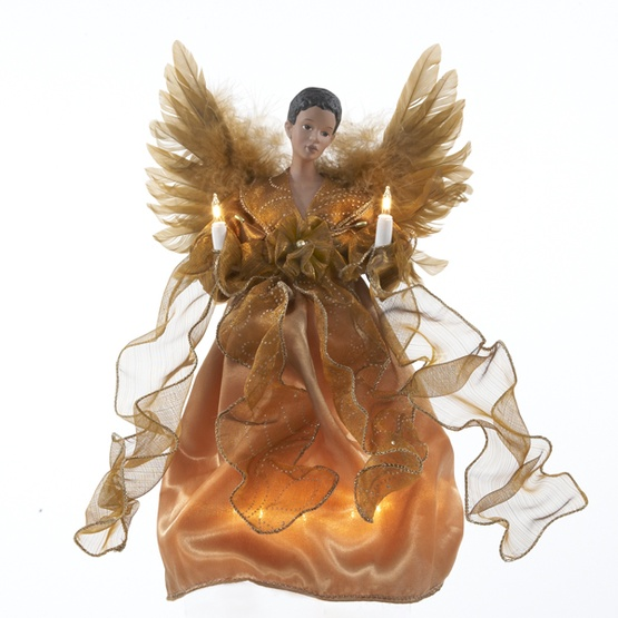 "13"" Gold African American Angel Tree Topper"