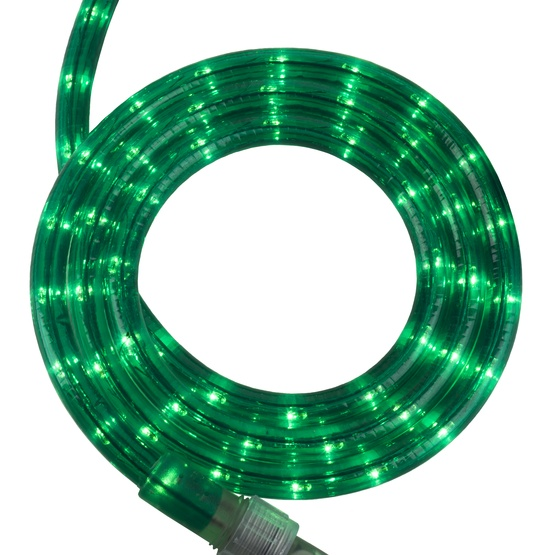"12' Green Rope Light, 2 Wire 1/2"", 120 Volt"