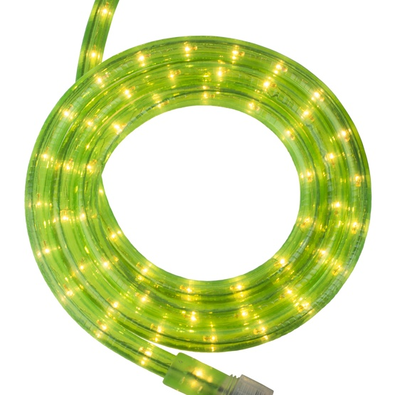 "30' Fluorescent Green Rope Light, 2 Wire 1/2"", 120 Volt"