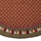 "54"" Burgundy and Gold Tree Skirt with Tassels"