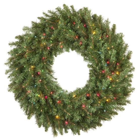 Brighton Fir Prelit Artificial Christmas Wreath, Multicolor Lights