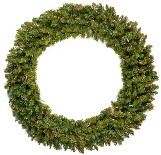 Tiffany Prelit Artificial Christmas Wreath, Multicolor Lights