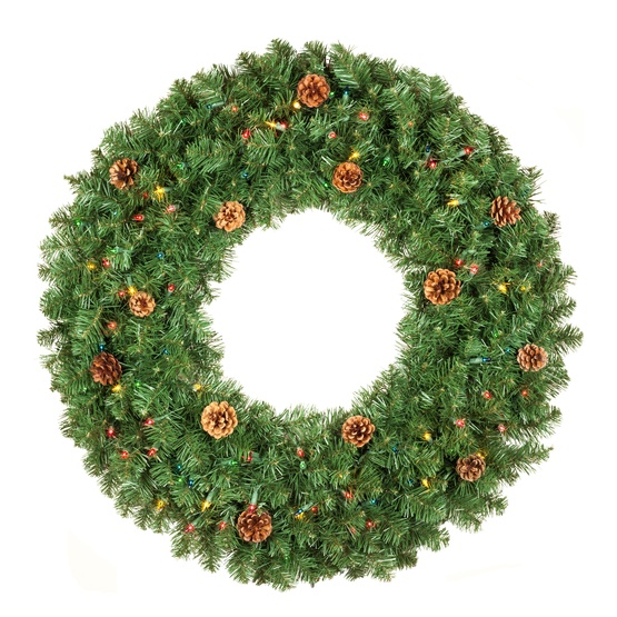 Winchester Fir Prelit Artificial Christmas Wreath, Multicolor Lights