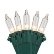 "Commercial 50 Clear Christmas Mini Lights, 6"" Spacing, Green Wire"