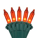 """Commercial 100 Amber / Orange Christmas Lights, 6"""" Spacing, Green Wire"""