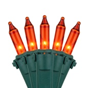 "Commercial 100 Amber / Orange Christmas Lights, 6"" Spacing, Green Wire"